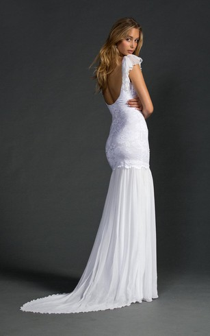 V-neck lace low back wedding dress