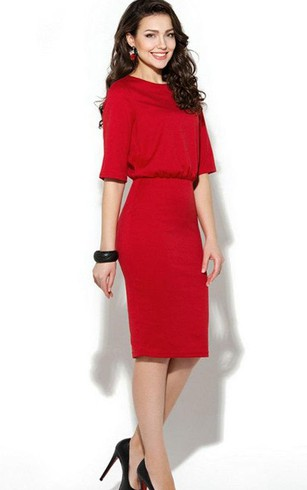 Bateau Half Sleeve Sheath Jersey Knee Length Dress