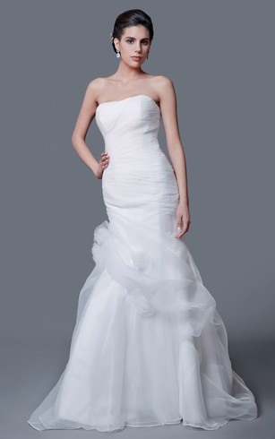 Noble Strapless Organza Mermaid Dress With Flower