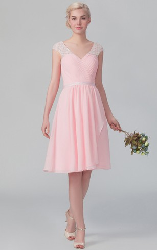 Short Graceful Cap-Sleeved Chiffon Dress With V Back