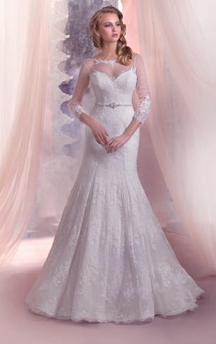 Mermaid Floor-Length Bateau-Neck Illusion-Sleeve Lace-Up Lace Dress With Beading
