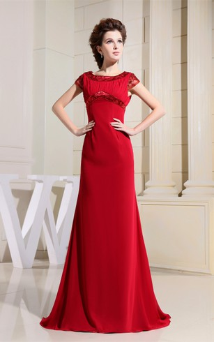 Chiffon Short-Sleeve Floor-Length Dress With Beading and Ruching