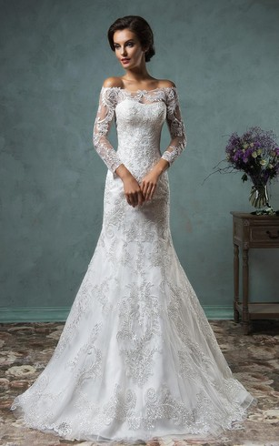 Lace bridal dress with long sleeves lace sleeve wedding gowns a line mini off the shoulder long sleeve bell beading appliques button lace junglespirit Images