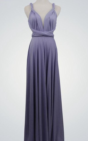 Backless Straped V Neck A-line Jersey Long Dress With Sash