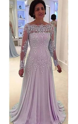 1f47372c7c Bateau A-line Floor-length Long Sleeve Chiffon Lace Mother of the Bride  Dress ...