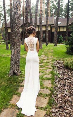 Chiffon Mermaid Sleeveless Dress With Illusion Lace Back ...