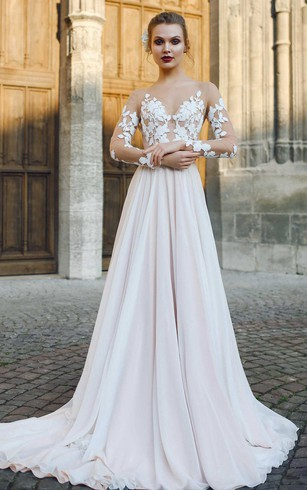 Bateau Illusion Long Sleeve Appliqued A Line Chiffon Wedding Dress