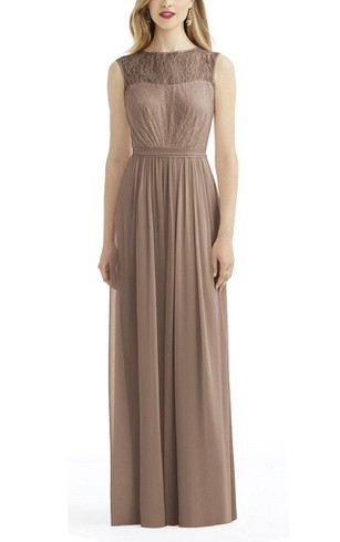 Illusion Lace Bodice Chiffon Long Bridesmaid Dress
