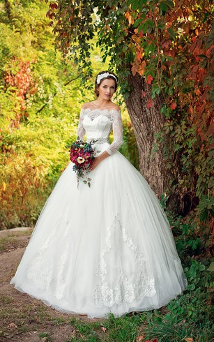 Ball Gown Floor-Length Off-The-Shoulder 3-4-Sleeve Illusion Lace Tulle Dress With Appliques And Beading