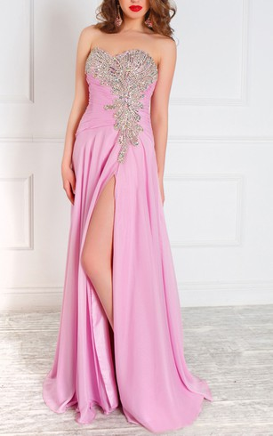 A-Line Floor-Length Sweetheart Sleeveless Tulle Ruffles Beading Zipper Dress