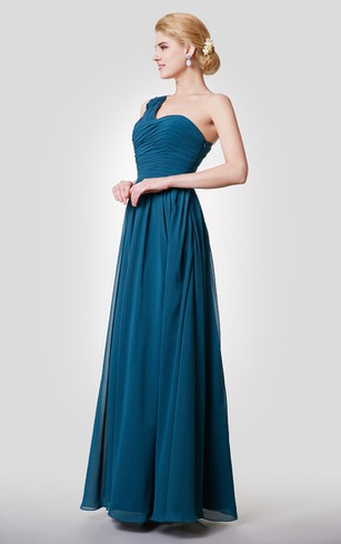 Unique One Shoulder A-line Chiffon Long Dress With Ruching