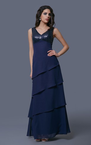 Chiffon V-Neck Layered Dress With Sequined Bust and Matching Cowl