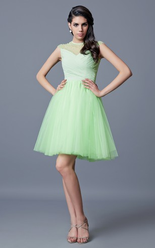 Jewel Neckline Beaded A-line Short Tulle Dress With Key-hole