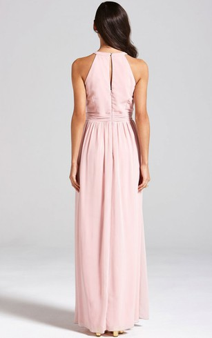 A-Line High-Neck Dress With Lace Detail And Back Keyhole