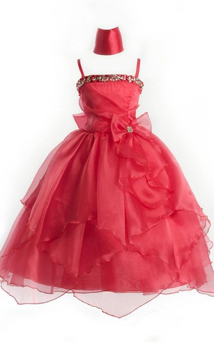 Sleeveless A-line Organza Dress With Sequins and Tiers