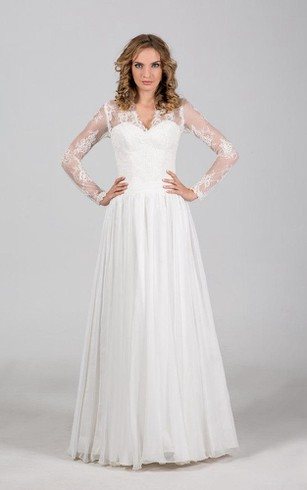 A Line Long Sleeve Pleated Tulle Dress With Lace Bodice And Up Back