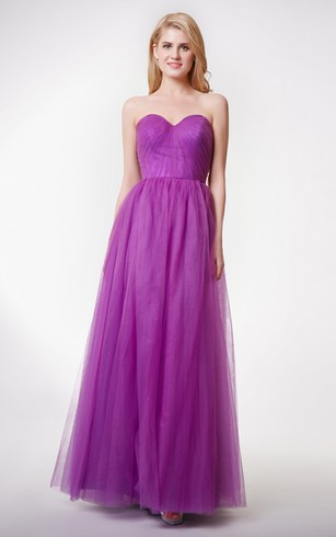 Elegant Sweetheart A-line Long Tulle Dress With Pleats