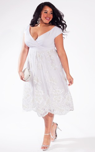 A Line Tea Length Lace Dress With Ruching And Low V Back ...