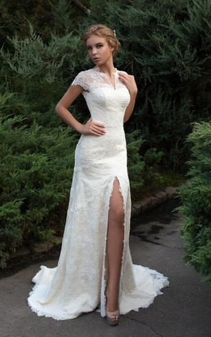 Sheath Floor Length Jewel Cap Sleeve Low V Back Lace Dress With