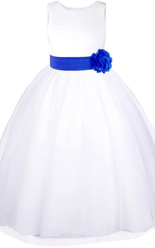 Sleeveless A-line Tulle Dress With Bow and Flower