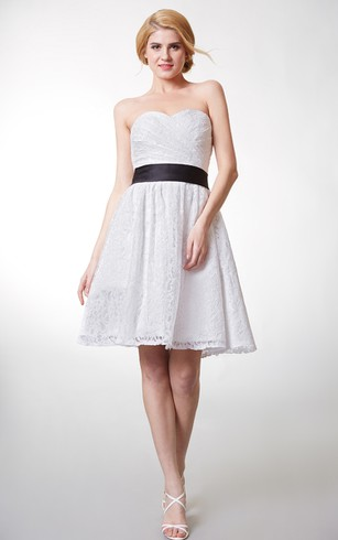 Ethereal Strapless Sweetheart A-line Floral Lace Dress With Black Belt
