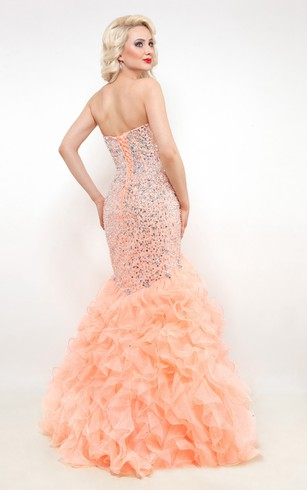 Mermaid Floor-Length Sweetheart Sleeveless Organza Ruffles Beading Lace-Up Dress