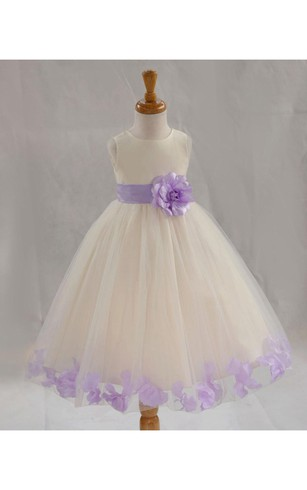 Bateau Neck Empire Tulle Ball Gown With Flower Sash and Pleats