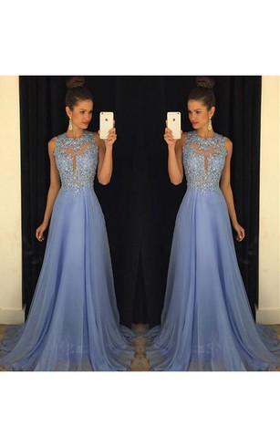 Beautiful Lace Appliques Sleeveless Prom Dress 2016 Long Chiffon Party Gowns
