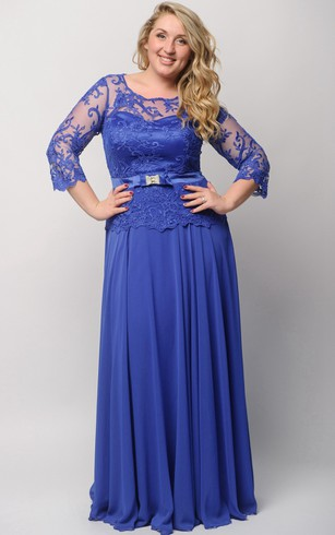 Empire Floor-Length Bateau 3 Empire Chiffon Lace Illusion Dress