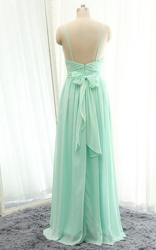 Sleevless A-line Floor-length Dress with Spaghetti Straps