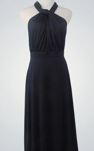 Halter Sleeveless A-line Jersey Floor Length Dress