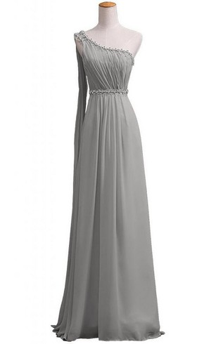 One-shoulder Long Chiffon Gown With Beaded Neckline