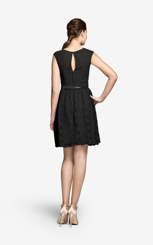 Lace Short Cap-Sleeved Dress With Keyhole Back