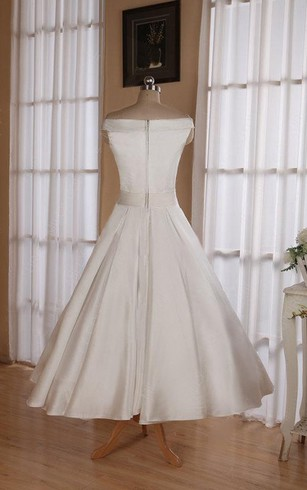 6b8581a1fb77 ... Sleeveless Tea-Length Satin Wedding Dress With Sash And  Off-The-Shoulder Neck