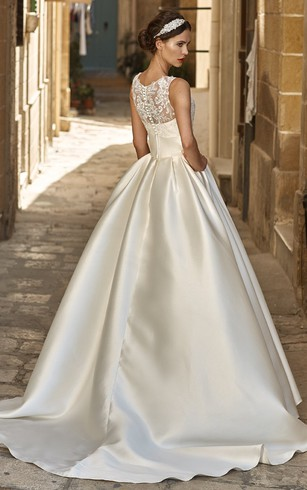 ... A Line Sleeveless Floor Length Appliqued Jewel Neck Satin Wedding Dress
