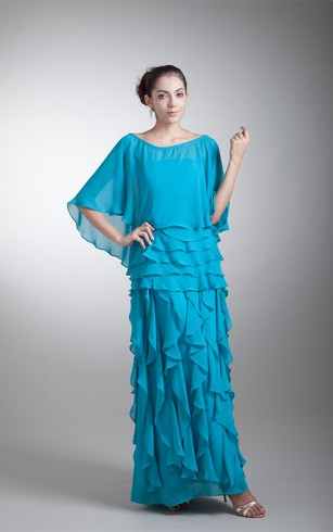 Strapless Ankle-Length Chiffon Dress With Cascading Ruffles