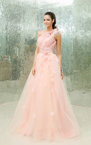 One-Shoulder A-Line Floral Ball Gown With Tulle Overlay