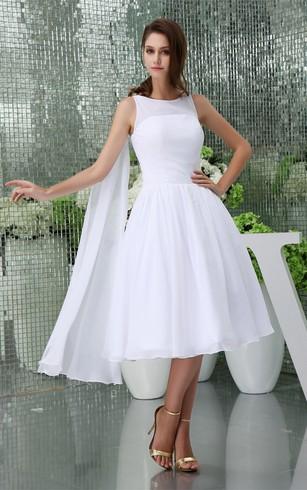 Casual style summer season wedding dress simple bridal dresses in sleeveless a line tea length chiffon dress with pleats junglespirit Gallery