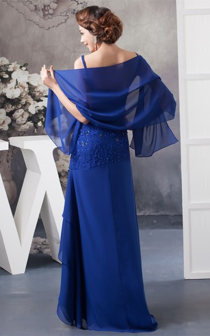 Spaghetti-Strap Floor-Length Chiffon Wrap and Dress With Beading
