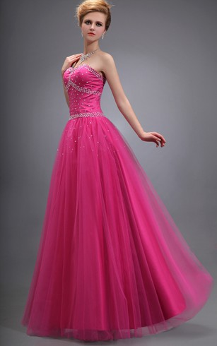 Strapless Tulle Long Dress With Beadings and Lace-Up Back