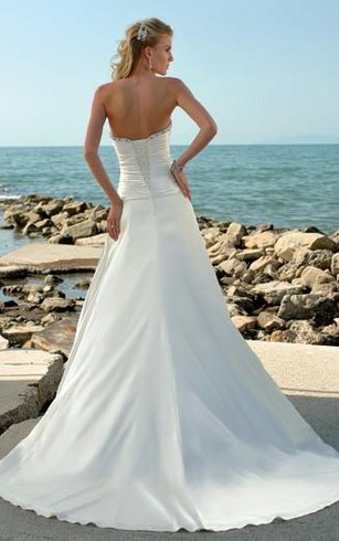A-Line Strapless Taffeta Wedding Dress