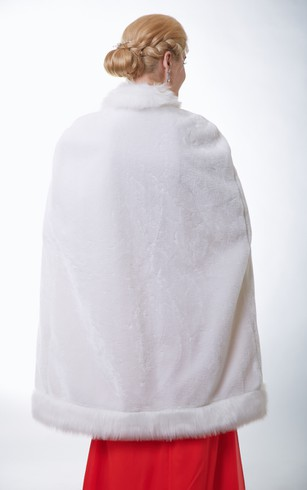 Ivory Waist-High Faux Fur Bridal Wrap With Straps