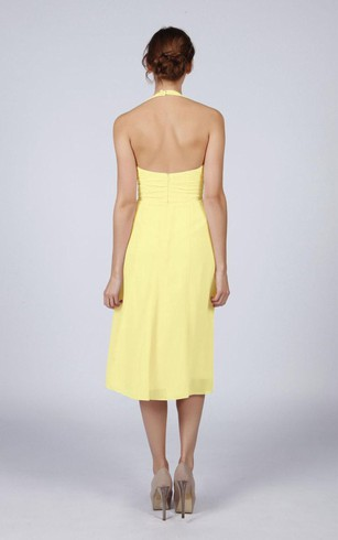 tea length yellow dresses