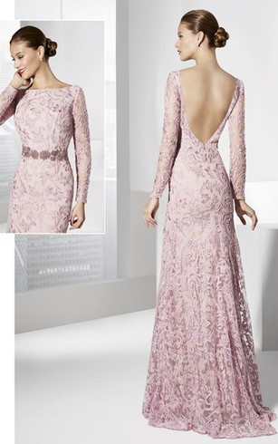 Formal Dresses With Long Illusion Sleeve   Long Sleeved Party Prom ...