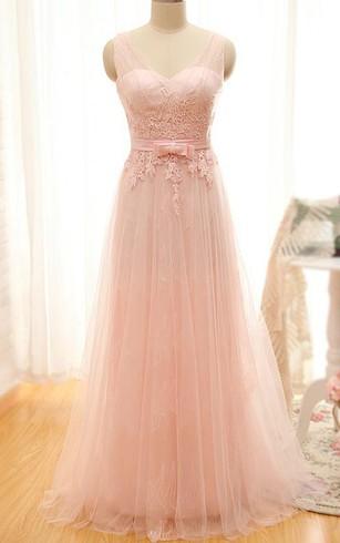 A Line Floor Length Sleeveless V Neck Tulle Dress