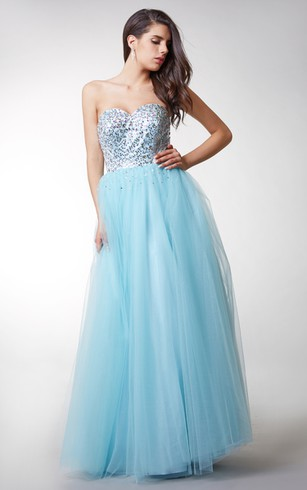 Gorgeous Beaded and Sequined Sweetheart Layered Tulle Prom Gown