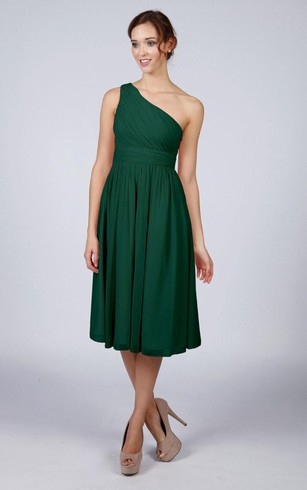 Emerald and Gold Knee Length Dress