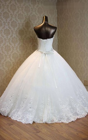 Ball Gown Sweetheart Bell Pleats Beading Appliques Flower Court Train Zipper Lace-Up Back Chiffon Tulle Lace Sequins Organza Satin Taffeta Dress