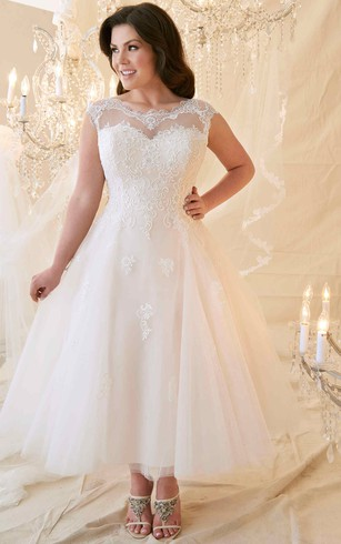 Plus size short wedding dresses for brides in all sizes dorris wedding a line tea length scoop neck cap sleeve lacetulle plus size wedding junglespirit Images