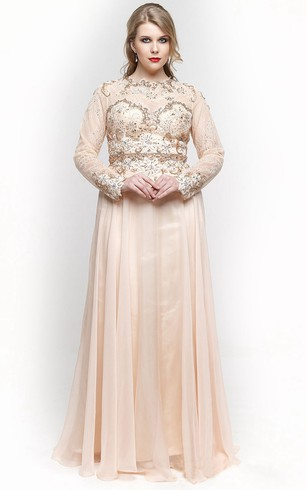 A-Line Floor-Length High-Neck Long Sleeve Chiffon Pleats Beading Zipper Dress